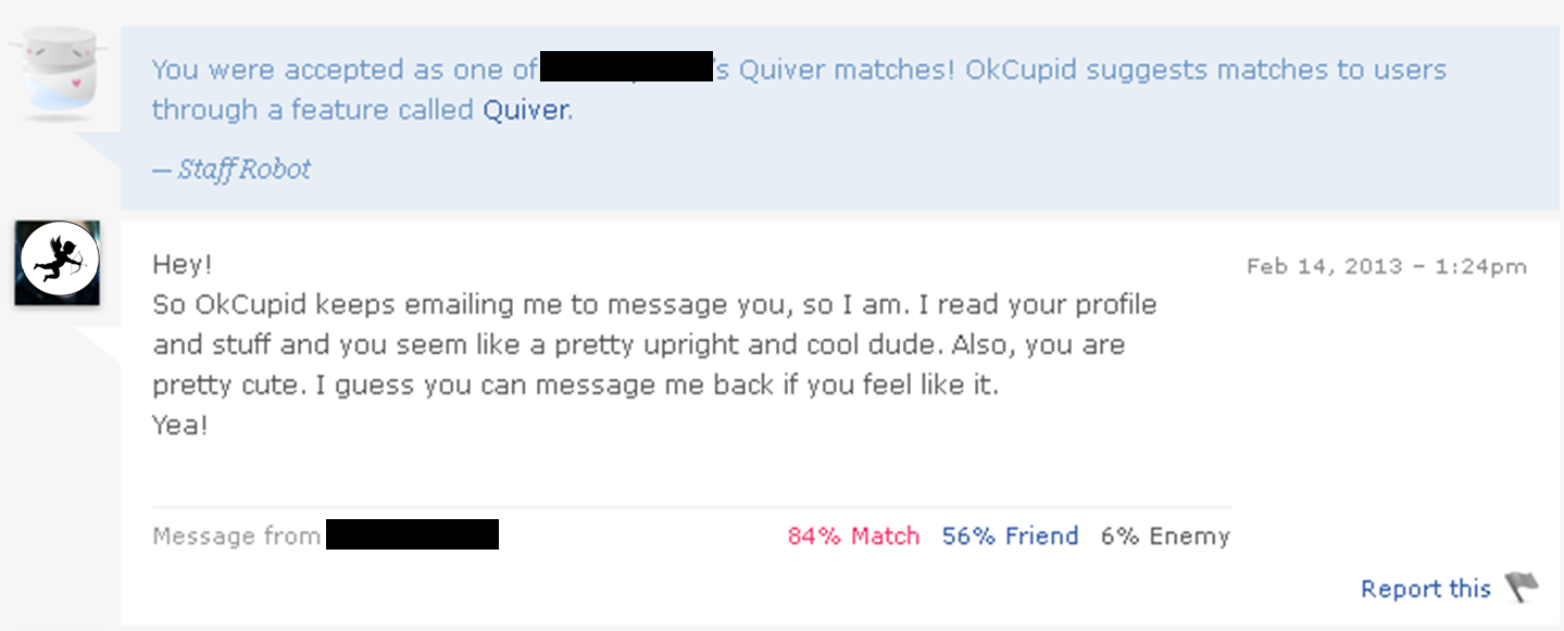 Online dating the first message